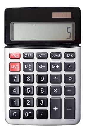 durty: Regular office calculator medium-sized. Isolated on a white background, without shadows. Studio light. Stock Photo