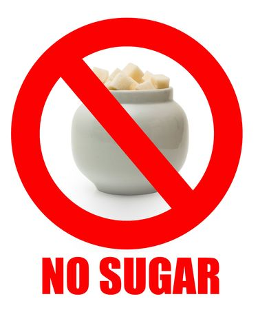 sugar: No sugar sigh. Forbidden eating sugar in a prohibited sign. Stock Photo