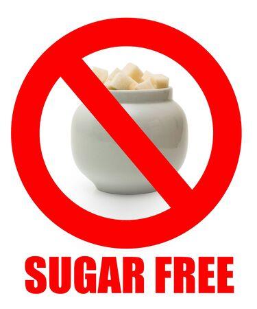No sugar sigh. Forbidden eating sugar in a prohibited sign.