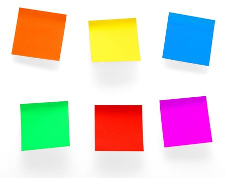 A different color post it notes isolated with path. Studio light. Natural shade. Stock Photo - 4161098