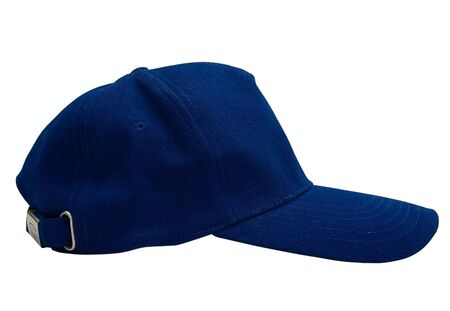 Blue baseball cap isolated with path. Studio work. Stock Photo