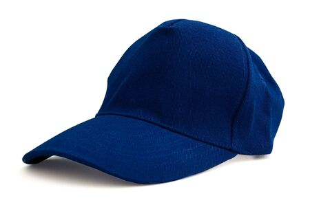 Blue baseball cap isolated with path. With shadows Studio work.