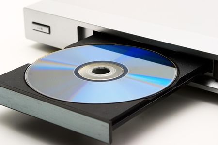 Close-up of the silver DVD-player