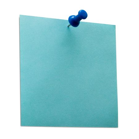 A blue post it note with spin Stock Photo
