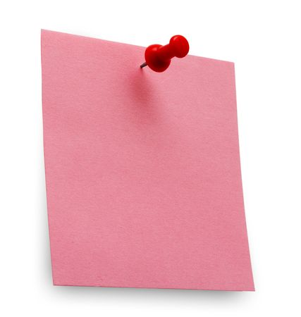 A red post it note with spin Stock Photo