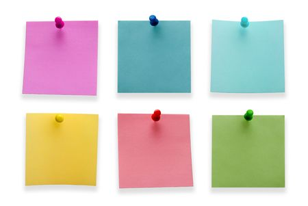 A different color post it notes with spins isolated on white background. Studio light.  photo