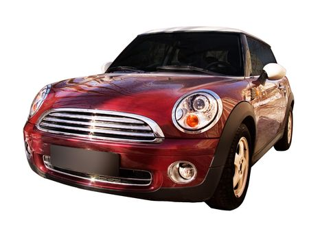 mini car: The modern car. Isolated on a white background for easy use.
