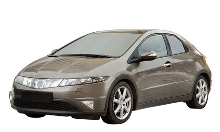honda: The modern car with aggressive design. Isolated on a white background for easy use.
