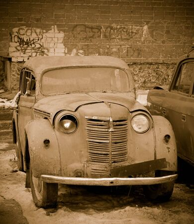 Rusty old car in sepia outdoors Stock Photo - 4445976
