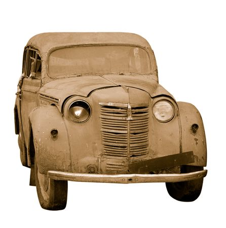 dirty car: Rusty old car in sepia isolated