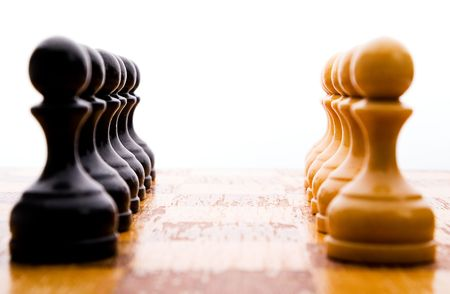 Chess figures bishops, concept of competition. Studio work.
