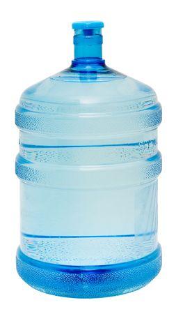 waterleiding: Een grote fles met zuiver water op een witte achtergrond. Studio werk.