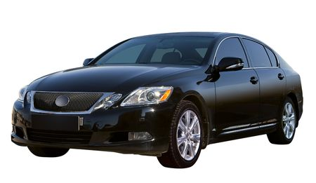 Modern black sedan of business class. Isolated on a white background.