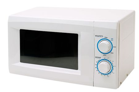 defrost: Microwave oven is isolated on a white background.