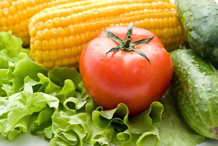 Vegetables close-up: tomatoes, cucumbers, corn on the leaves of lettuce. Stock Photo - 4710401