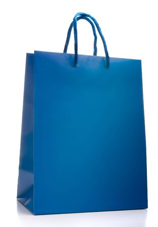 Blue shopping bag isolated on a white background Banco de Imagens
