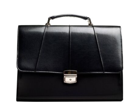 attache: Black leather business suitcase isolated on white background