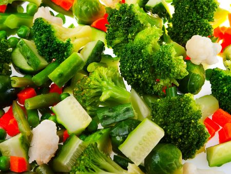 Healthy food: cauliflower, brussels sprouts, broccoli, carrots, string beans  and green peas photo