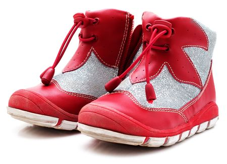 Childrens shoes. Isolated on a white background photo