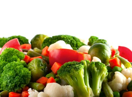 Healthy food: cauliflower, brussels sprouts, broccoli, carrots, string beans  and green peas Stock Photo - 4958538