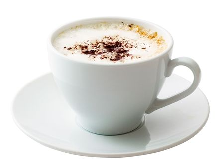 capuchino: Blanco Taza de caf� sobre fondo blanco aisladas Foto de archivo
