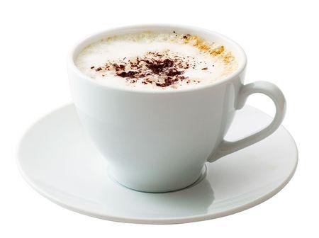 White mug of coffee isolated on white background