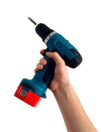 Hand with the drill isolated on a white background   Stock Photo