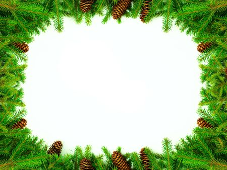 Christmas frame for congratulations. Made from real tree branches with cones. All this from the snowy Russia Stock Photo - 5628577