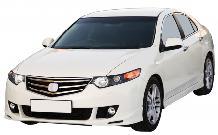 front bumper: Modern sedan isolated on a white background Editorial