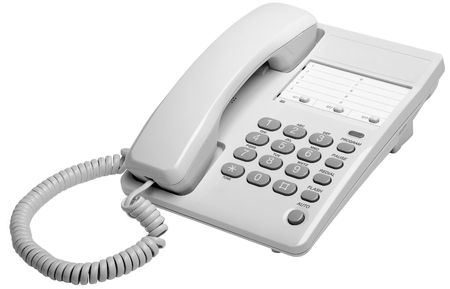 dial pad: Office white phone isolated on a white background