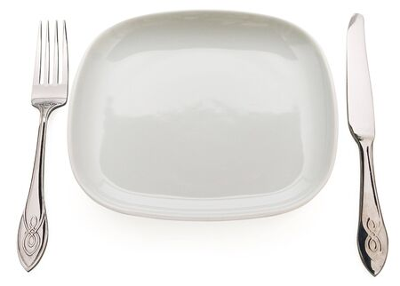 Table set: plate, fork, spoon and table knife. Concept of food Stock Photo - 5654468