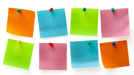 important phone call: A different color post it note and pins isolated on white background Stock Photo