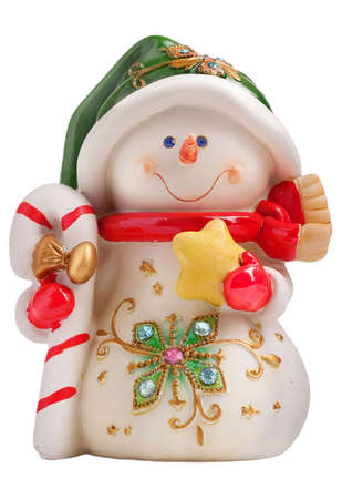 Toy christmas snowman isolated on a white background photo