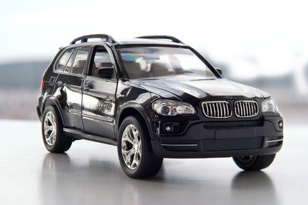 Model of a modern car on a neutral background photo