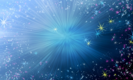 Magic background with sky gradient and flying shining stars photo