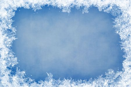 Winter frame of gleaming ice, in the center of the composition aged textured background Stock Photo