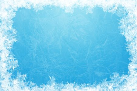 snowy background: Gleaming shining ice frame, in the center of the composition frozen deep clear water Stock Photo