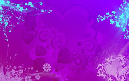 purpule: Background for valentine in delicate colors and the bright shining Japanese flowers on the edges