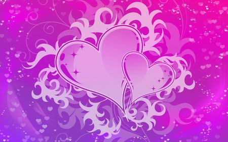purpule: Background for valentine in delicate colors with hearts in the center of the composition Stock Photo