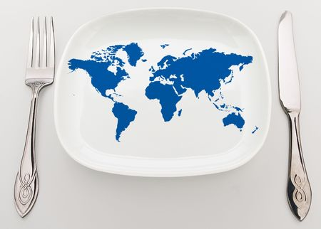 superiority: Concept: whole world on the plate. Superiority