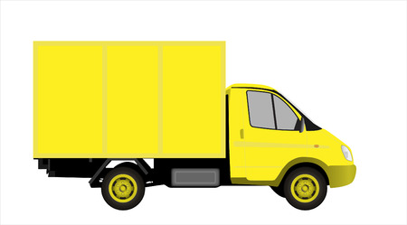 Yellow commercial vehicle (delivery car) vectror illustration Illustration