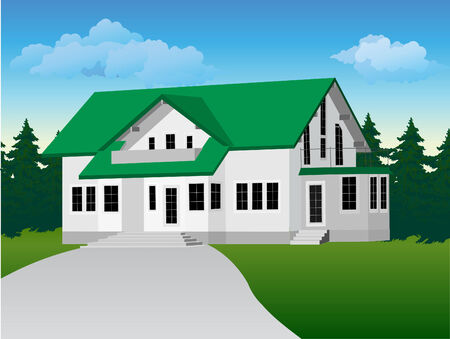 suburban home: illustration: private country house. Background of forest and sky