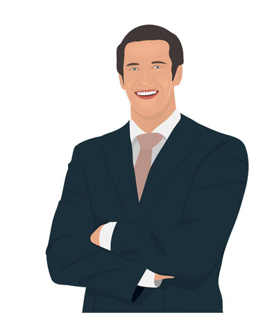 people standing:  Image: businessman in a business suit smiling, half-length portrait