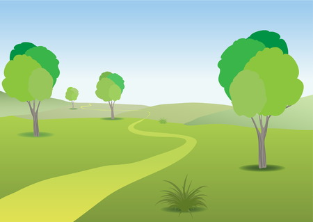 receding: Landscape green plain, warm sunny summer day and a winding path to the receding horizon.