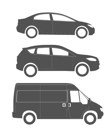 Set of silhouettes of the modern cars: sedan, crossover and commercial van