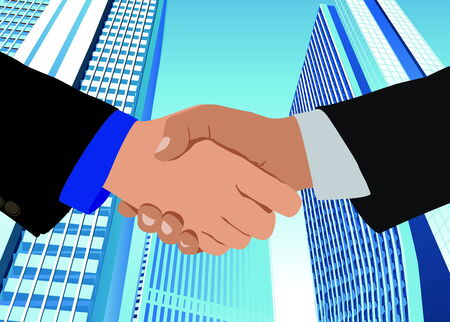 Handshake close up, against the background of modern business buildings Stock Vector - 6788375