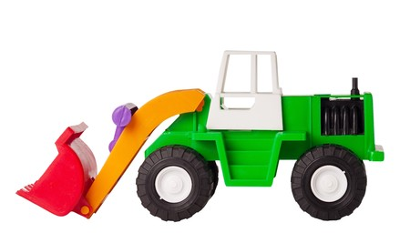 Toy excavator is isolated on a white background, side view Stock Photo - 7396920
