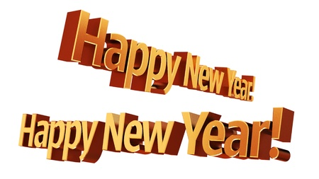 cutcat: Happy New Year 3D text Stock Photo