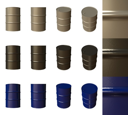 brent crude: Barrels isolated Stock Photo