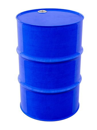 Blue metal barrel photo